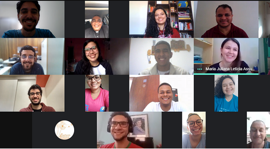 Young Leaders of Ecclesial Movements participate in a meeting through a virtual platform